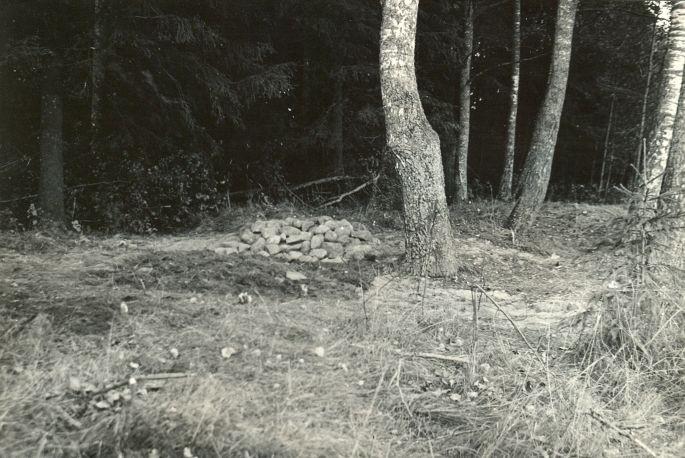 Kääpad Kabelimägi (pärast võsast puhastamist, läbikaevatud kääbas rekonstrueerituna) - lõunast. Foto: O. Multer, september 1985.