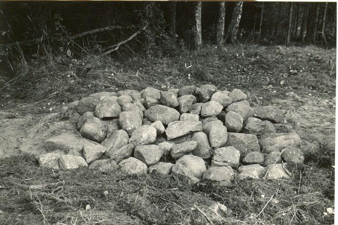 Kääpad Kabelimägi (vaade läbikaevatud ja rekonstrueeritud kääpa kivikuhjatisele) - edelast. Foto: O. Multer, september 1985.