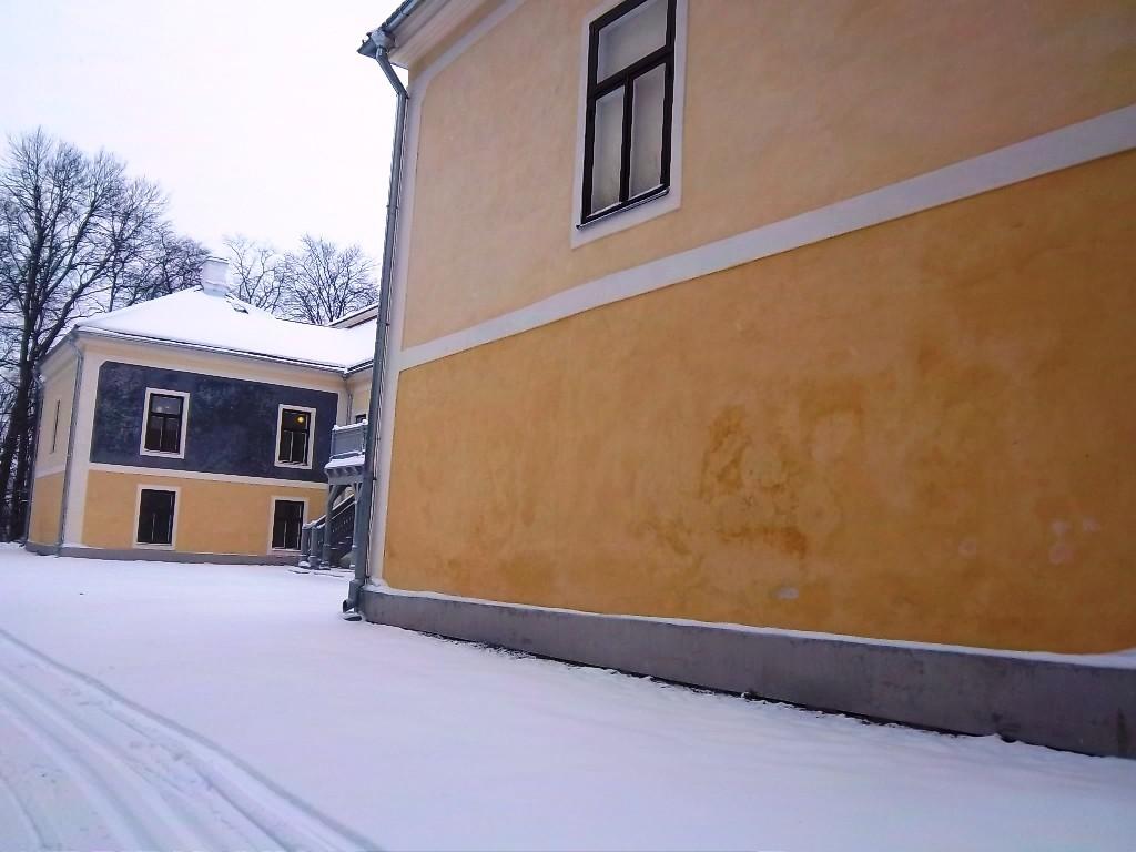 Vana-Vigala mõisa peahoone tagaküljel eksponeeritud söekrohv. K. Klandorf 24.01.2012