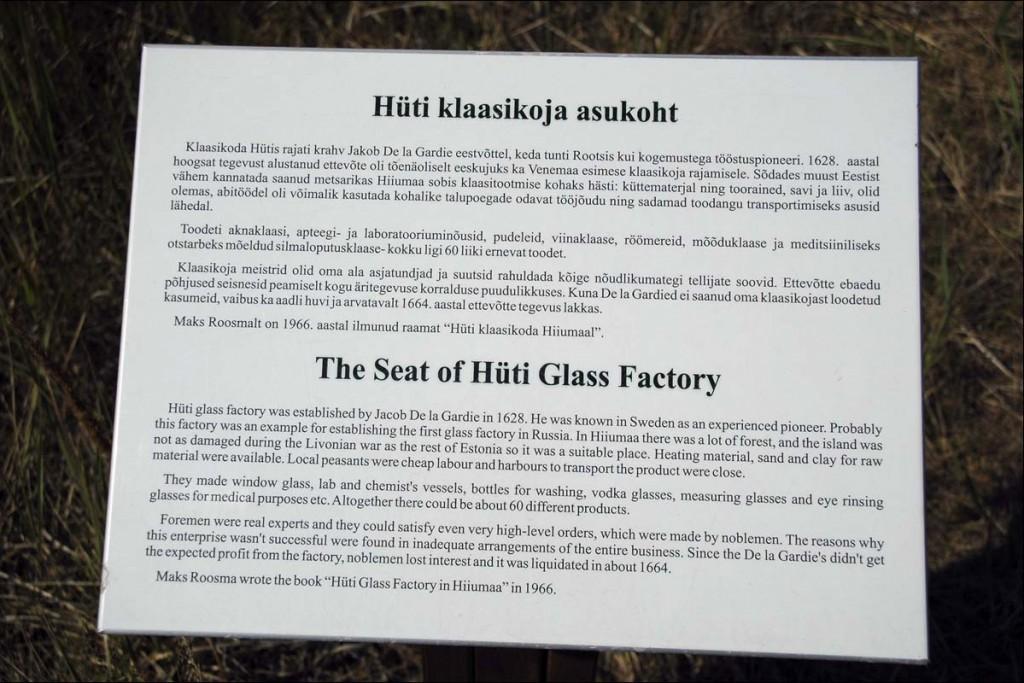 Infotahvel Hüti klaasikoja asukohas  Autor M. Mõniste  Kuupäev  11.08.2006