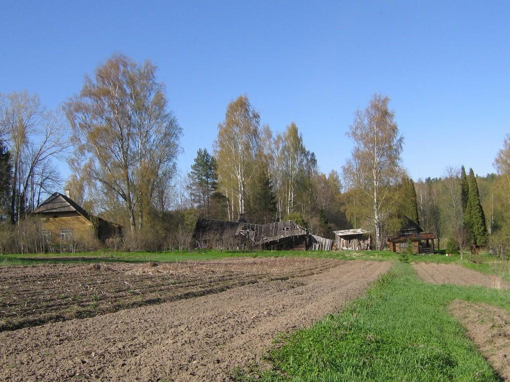 Kassilaane asulakoht. Põld ja tagaplaanil vanad hooned. Foto: Viktor Lõhmus, 02.05.2012.