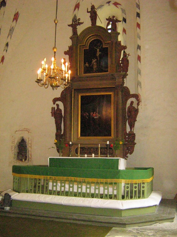 """Altarimaal """"Püha Õhtusöömaaeg"""", 16.saj. lõpp (õli, puit). Maal tagasi algsel kohal Foto: Kalli Pets  23.05.2007"""