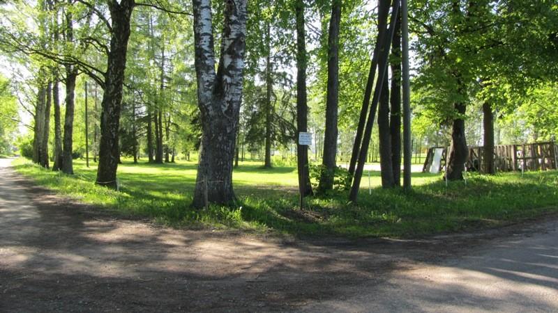 Vaade asulakoha tähisele uues asukohas keset Reola küla. Foto: Karin Vimberg, 21.05.2012.
