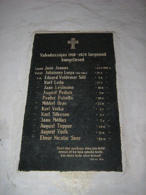 Autentne mälestustahvel Vabadussõjas langenuile. Oli venelaste rüüste eest peidetud krohvikihi alla.  A.Unt  08.08.2007