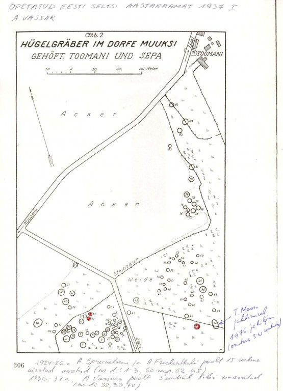 Kaart kivikalmetega 18247-18259.