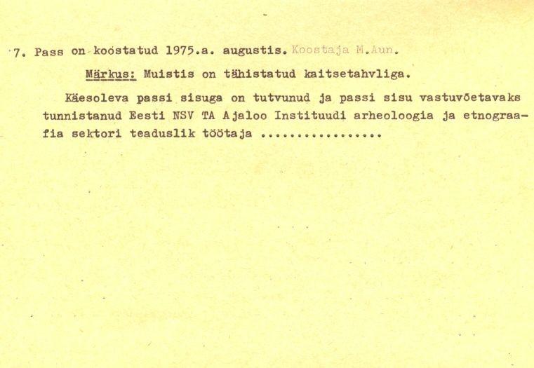 Pass – 6-p (Täielik pass on mälestis nr 11321 juures.)