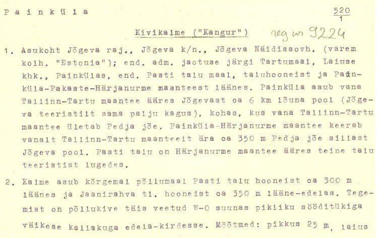 Pass 1  Autor K. Jaanits  Kuupäev 01.06.1975