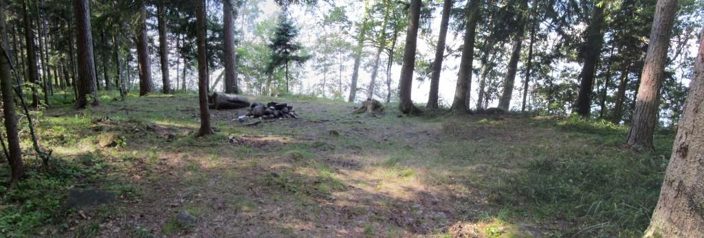 Vaade kivikalmele reg nr 12956 kirdest, kalmele viivalt metsateelt. Foto: Karin Vimberg, 30.08.2012.