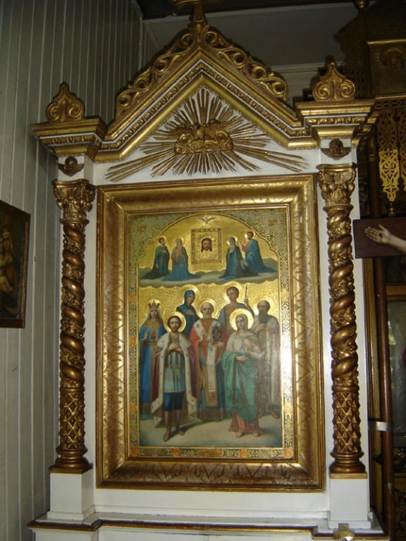 """Ikoon """"Valitud pühakud"""" kappraamistuses. 19. saj. lõpp või 20. saj. algus (segatehnika, puit). Foto: S.Simson 13.06.2006"""