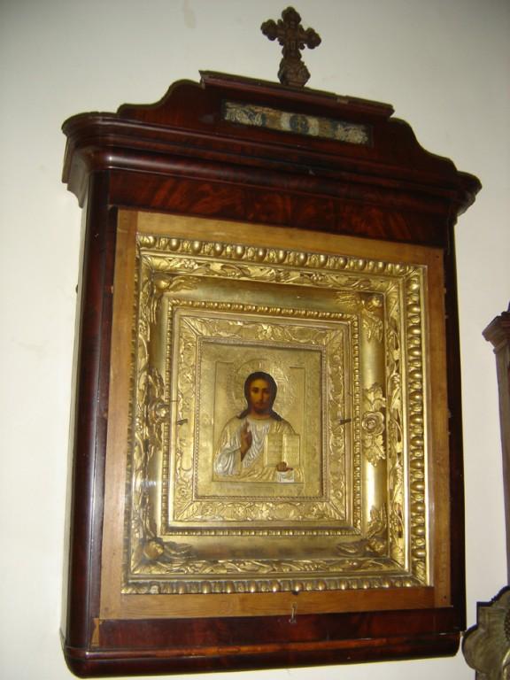 """Ikoon """"Kristus Kõigevalitseja"""". 19. saj. II pool (õli, puit, messingkate). Foto: S.Simson 13.06.2006"""