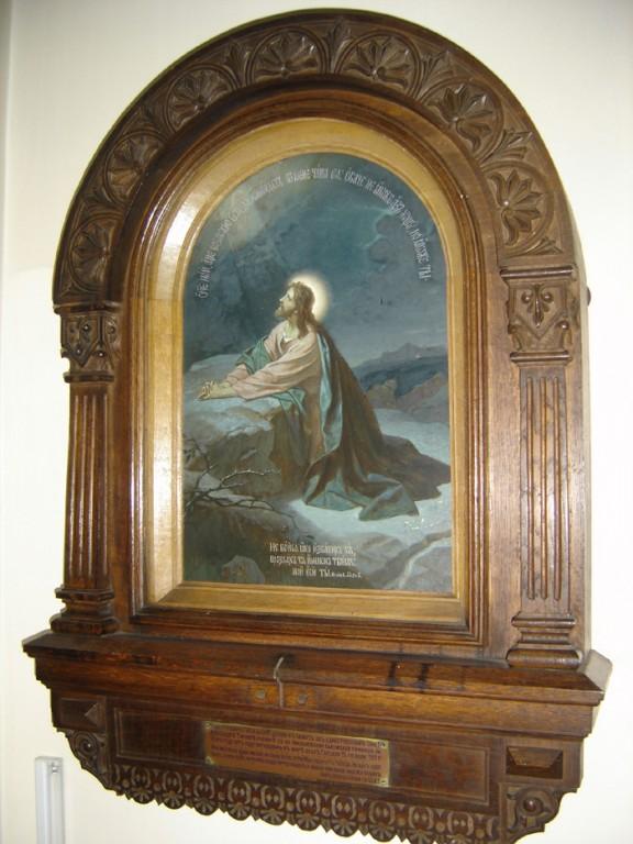 """Ikoon """"Kristus Ketsemani aias"""" kappraamistuses, 20. saj. algus (õli, lõuend). Foto: S.Simson 13.06.2006"""