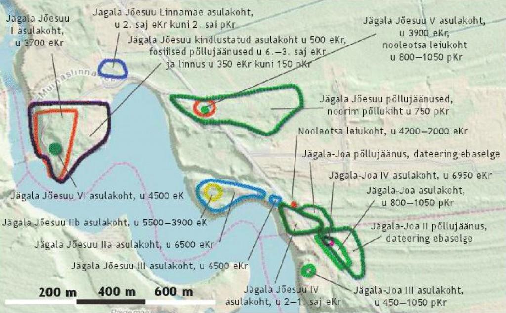 Jägala Jõesuu linnamäe ja selle lähiümbruse arheoloogiliste muististe asukoha kaart. Aivar Kriiska 2011.