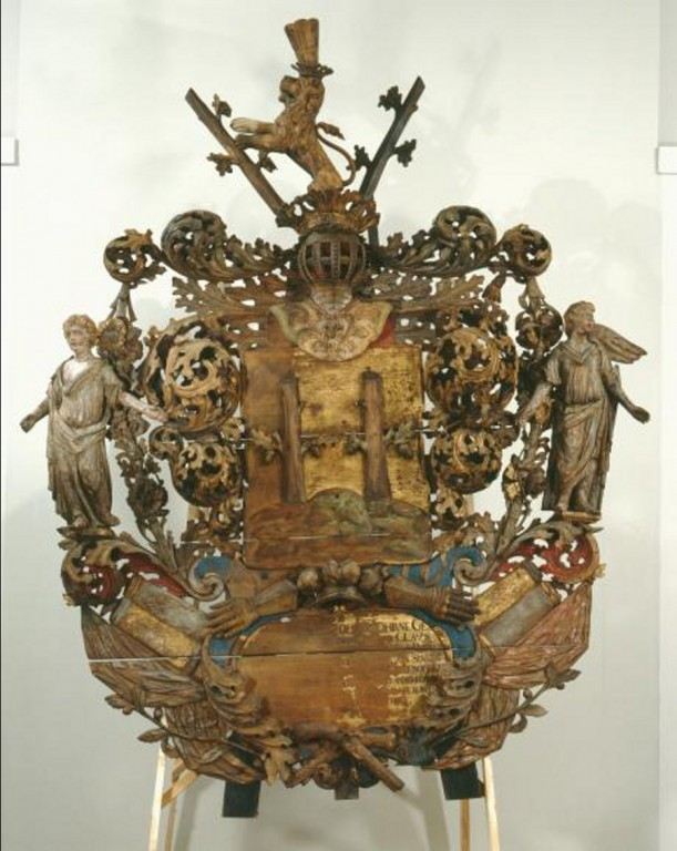 C. J. v. Stackelbergi vappepitaaf. Chr. Ackermann (?), umb. 1689 (puit, polükroomia). Foto: Toomkiriku vapitöökoda, 2008