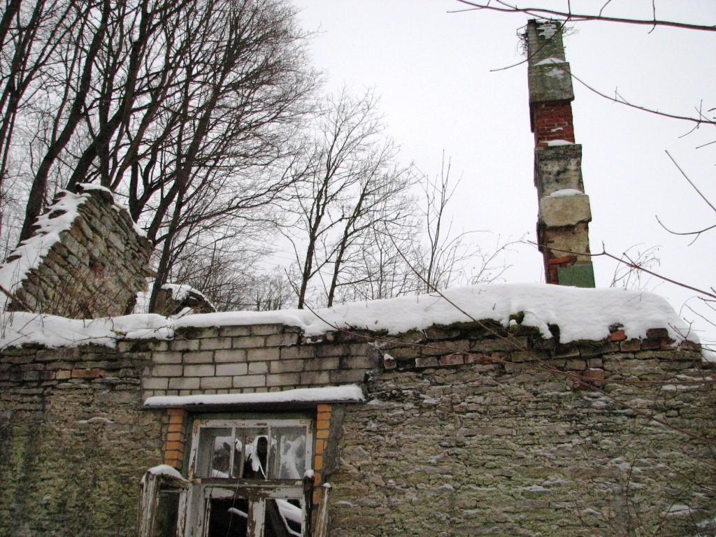 Pada mõisa vesiveski, reg. nr 16040. Vaade põhjast korstnale. Foto: M.Abel, kuupäev 30.01.2013