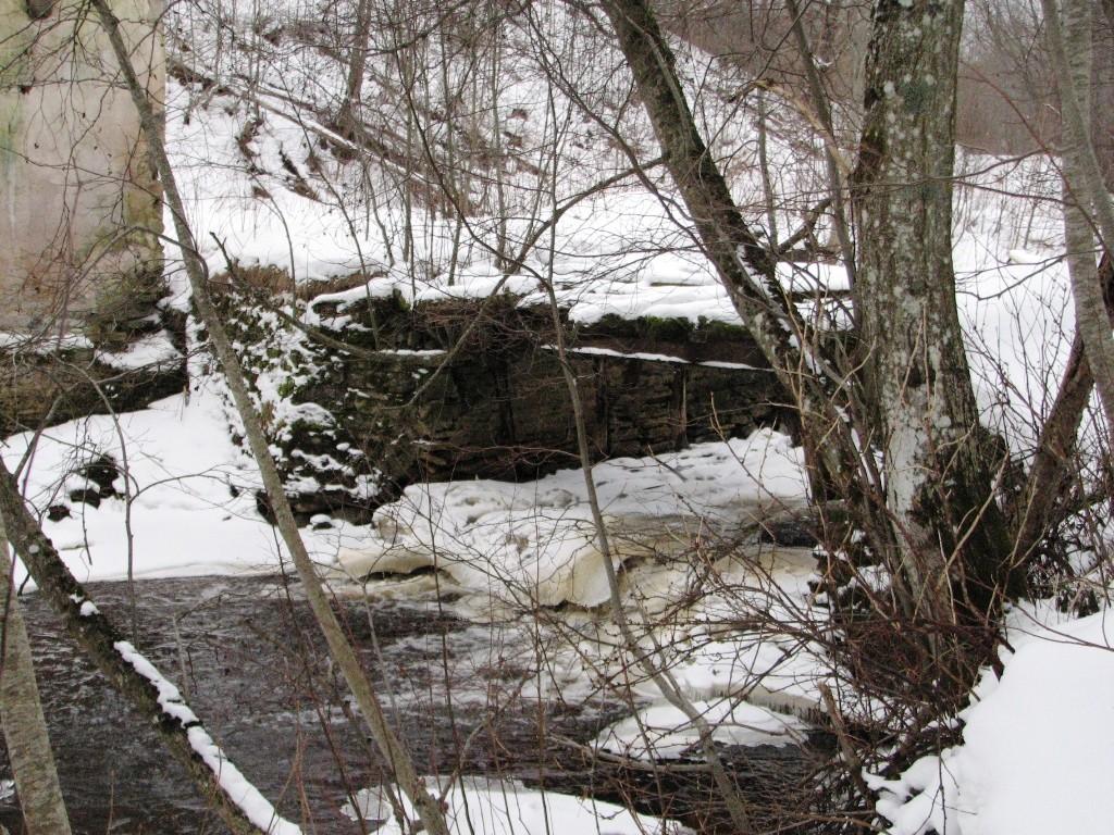 Pada mõisa vesiveski, reg. nr 16040. Vaade põhjast veskitammile-sillale üle jõe. Foto: M.Abel, kuupäev 30.01.2013
