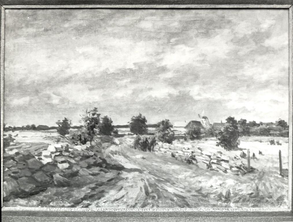 Maal «Külavahetee tuulikuga», A. Pihelga, 1957 (õli, lõuend)