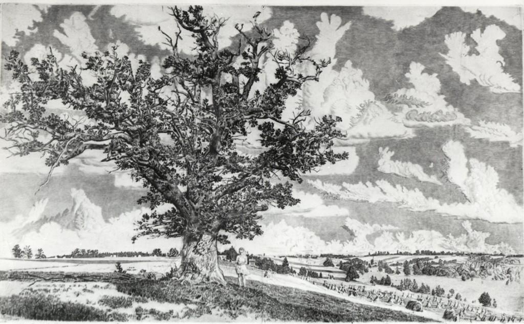 Graafiline leht «Viljandi maastik», E. Viiralt, 1943 (kuivnõel)