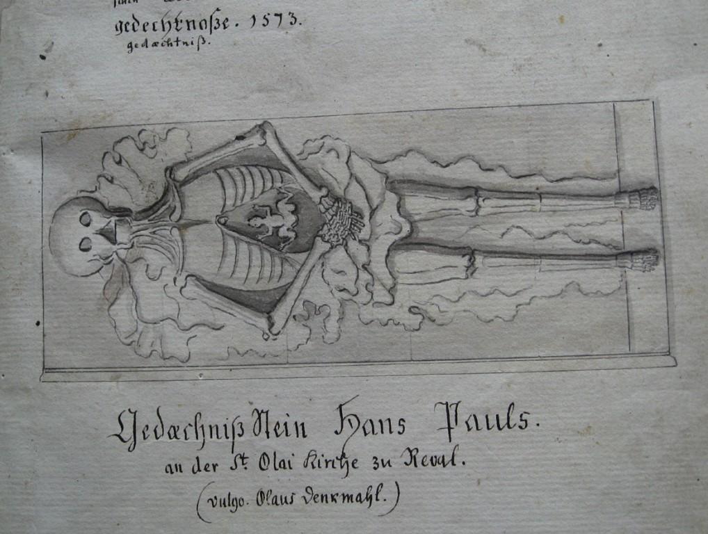 H. Pawelsi kenotaaf, H. Byldensnyder ja Clemens Pale, 1513-1516 (dolomiit, Märjamaa kivi). Detail. M. Körberi järgi