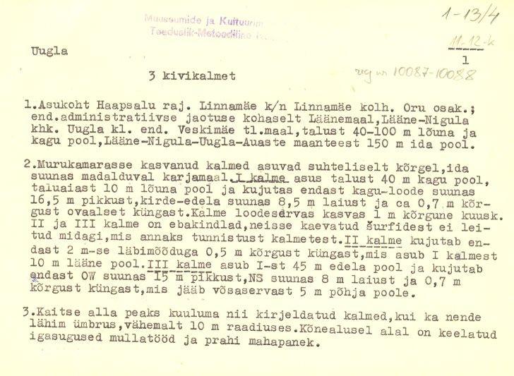 Pass 1  Autor M. Mandel  Kuupäev 01.08.1977 Passis kirjeldatakse Kivikalmeid 10086-10088