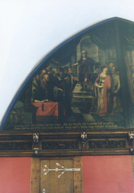 """Lünettmaal """"Susanna kohtu ees"""", J. Aken, 1667 (õli, lõuend) Foto: Jaanus Heinla 2002"""