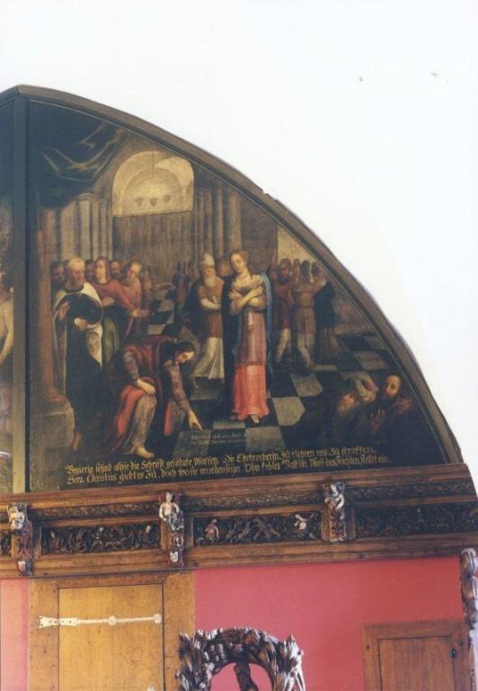 """Lünettmaal """"Kristus ja abielurikkuja naine"""", J. Aken (õli, lõuend) Foto: Jaanus Heinla 2002"""