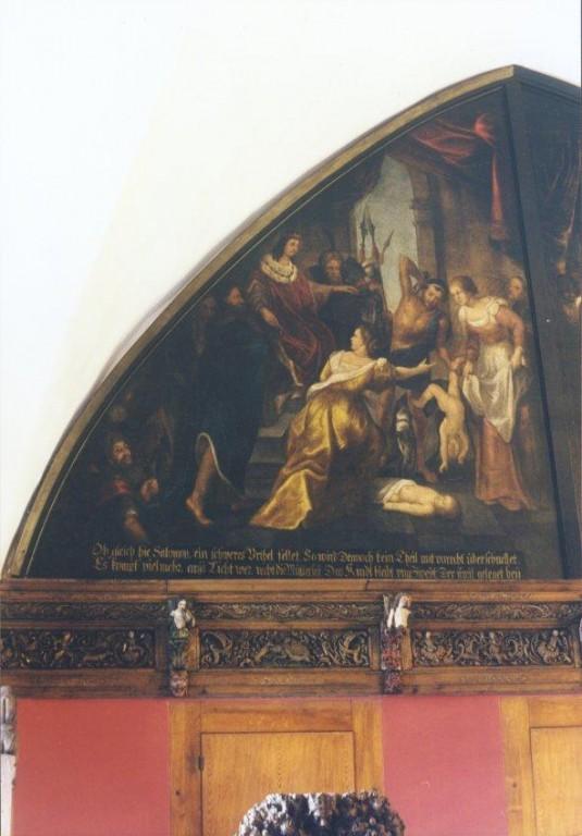 """Lünettmaal """"Salomoni kohus"""", J. Aken (õli, lõuend) Foto: Jaanus Heinla 2002"""