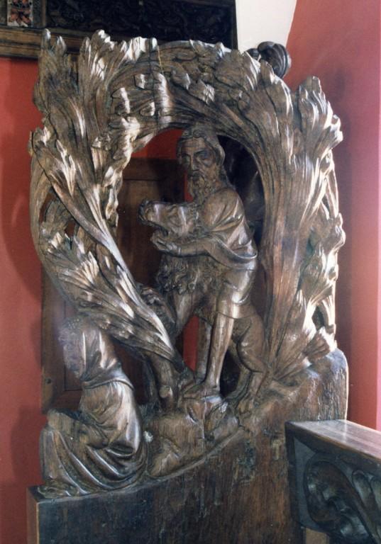 Pink figuraalreljeefidega «Tristan ja Isolde», «Simsoni võitlus lõviga», anonüümne meister, seljatugi M. Hasse, 14.-15. saj. (puit). Detail: Simsoni võitlus lõviga  Foto: Jaanus Heinla 2001