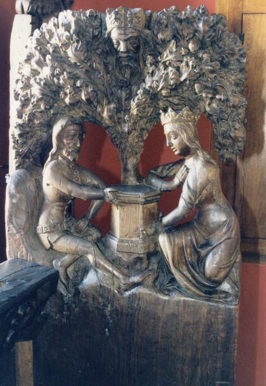 Pink figuraalreljeefidega «Tristan ja Isolde», «Simsoni võitlus lõviga», anonüümne meister, seljatugi M. Hasse, 14.-15. saj. (puit). Detail: Tristan ja Isolde  Foto: Jaanus Heinla 2001