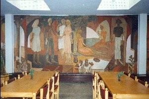 Pannoo, E. Jänes, 1977 (fresko). Seinamaal jrkr nr 5, hävinud suvel 1996. Foto V. Leitsar, veebr. 1996.