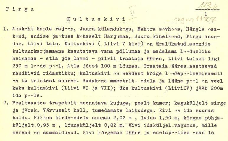 Pass 1  Autor U. Tamla  Kuupäev 01.10.1980