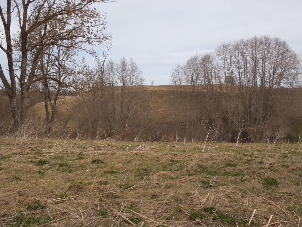 """Linnus """"Varangu veskikants"""", reg nr 10211. Vaade linnusele Varangu küla poolt lõunast üle Selja jõe. Foto: M. Abel, 07.05.2013."""