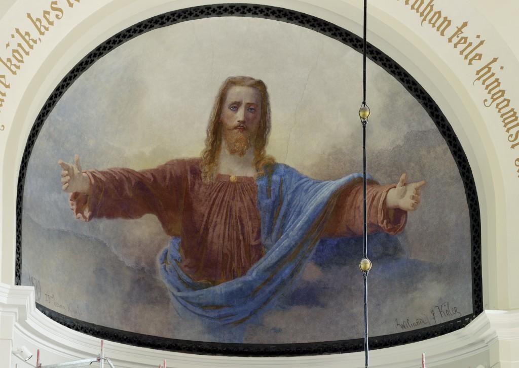 Altarimaal «Tulge minu juurde», J. Köler, 1879 (fresko). Üldvaade pärast restaureerimist. Foto: P. Säre, 21.06.2013