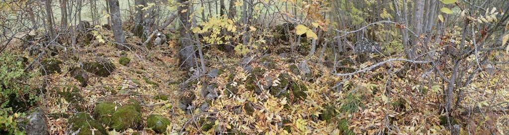 Kivikalme, reg nr 10571. Panoraamvaade kalmele. Foto: M. Abel, 04.10.2013.