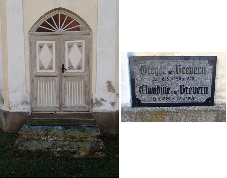Haljala kirikuaia kabel 2, reg. nr 15650. Vaade sissekäigule ning selle kõrval olevale mälestusplaadile. Foto: M.Abel, kp 22.10.13
