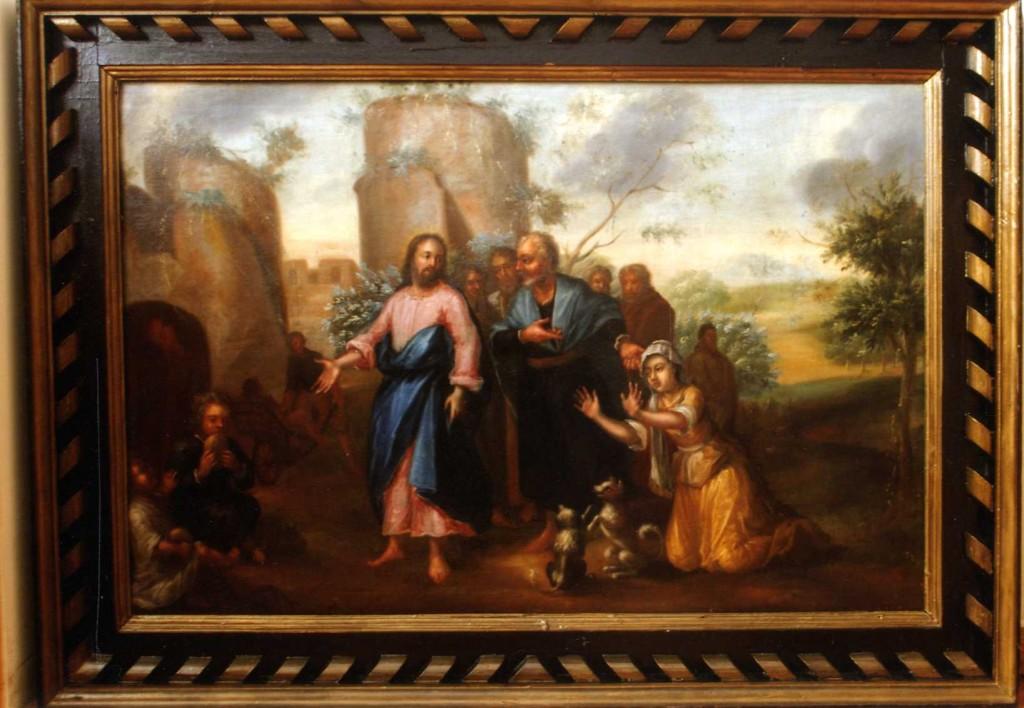 Maal «Kristus ja Kaanani naine», 18. saj. (õli, lõuend). Pärast konserveeerimist 2007. Foto: J. Heinla, 2007.
