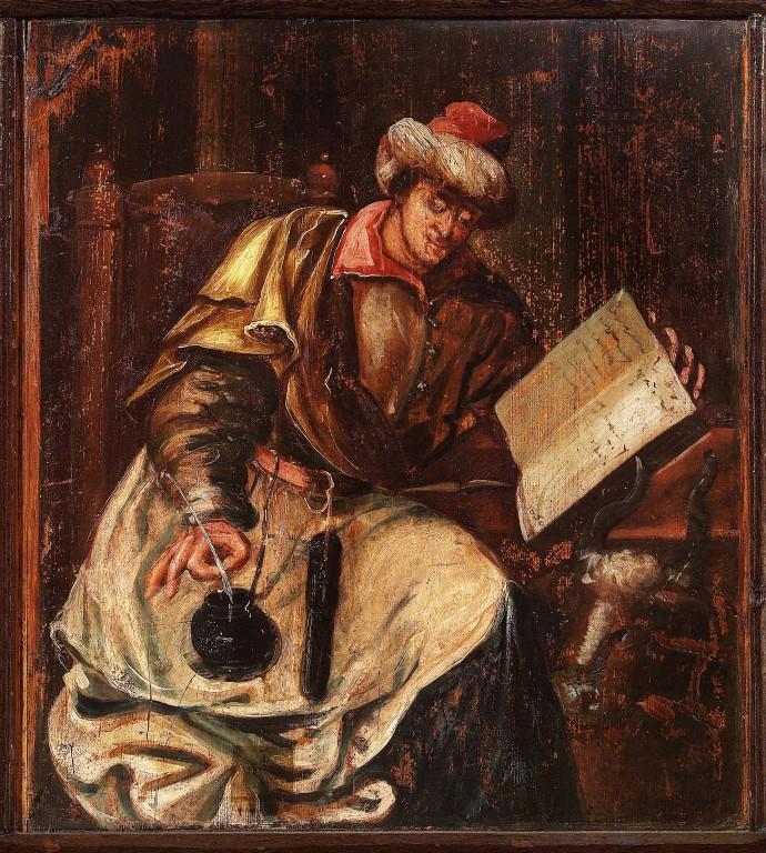 Evangelist Luukase kujutis pingirinnatisel, 1650 (õli, puit). Pärast konserveerimist 2004. Foto: J. Heinla, 2005.