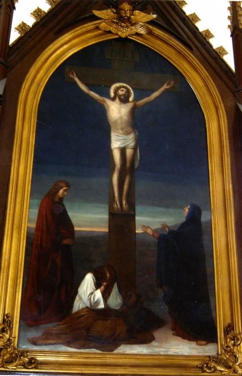 Altarimaal «Kristus ristil», Karl Wenig, 19. saj. II pool (õli, lõuend). Pärast konserveerimist. Foto: Jaanus Heinla, 2007.