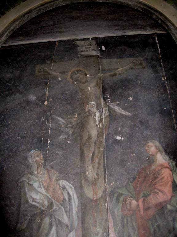 """Altarimaal """"Kristus ristil"""". Tundmatu kunstnik, 17. saj.(?), ülemaaling Kieruff(?), 1788 (õli, puit) Foto: S.Simson 06.09.2008"""