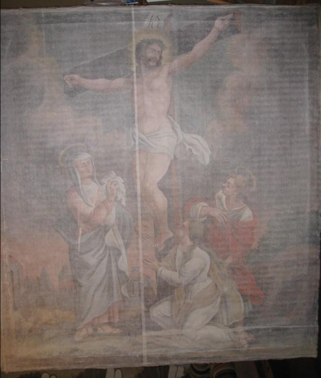 """Altarimaal """"Kristus ristil (Kolgata)"""".  A. S. Schilderup, 1790 (õli, lõuend). Kinnikaetuna enne restaureerimist. Foto: S.Simson 17.07.2009"""