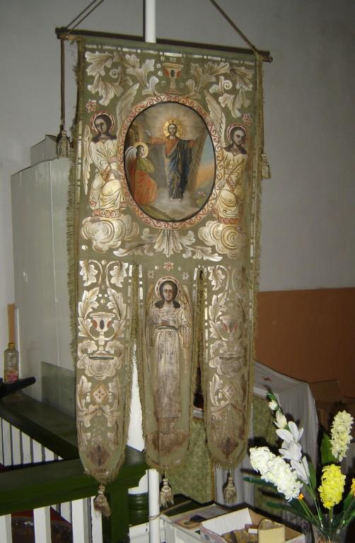 Kirikulipp Ülestõusmise ja Nikolai Imetegija kujutistega Foto: S.Simson 20.08.2006