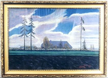 Maal «Maastik», A. Laikmaa (pastell) Foto. J.Heinla 2002