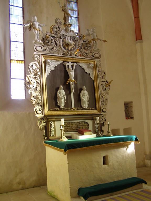 Altarisein. D. Walter, kingitud 1709 (puit, monokroomia) Foto: L. Tammsalu, 2009