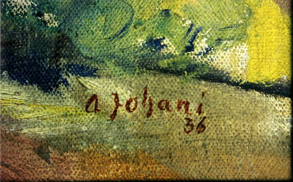 Maal «Tartu vaade õitsva aiaga», A. Johani, 1936 (õli, lõuend). A. Johani signatuur. Foto: J. Heinla, 2002.