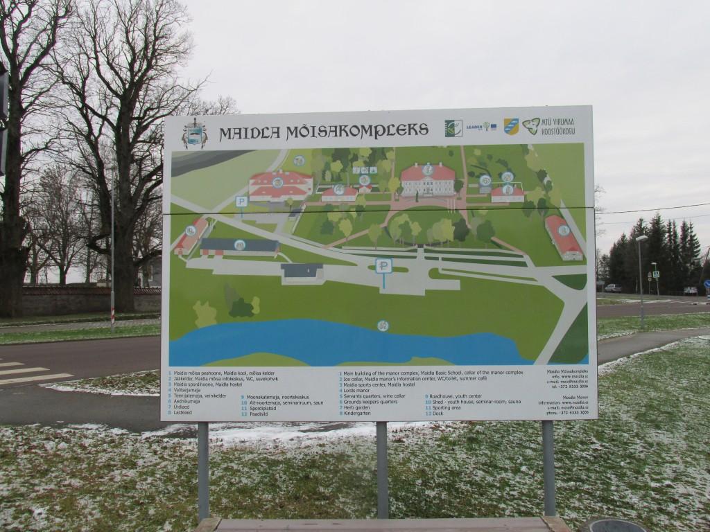 Maidla mõisa park,18.-19.saj. Infotahvel. Foto: Kalle Merilai 25.11.2015. a.