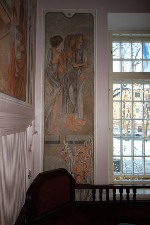 E. Jänese seinamaal (1982) I korruse fuajees. Foto. Eero Kangor, 8.01.2016