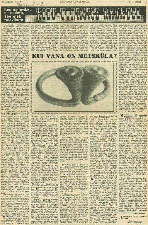 Endel Rössler. Kui vana on Metsaküla? - Tee Kommunismile, 14. august 1986.