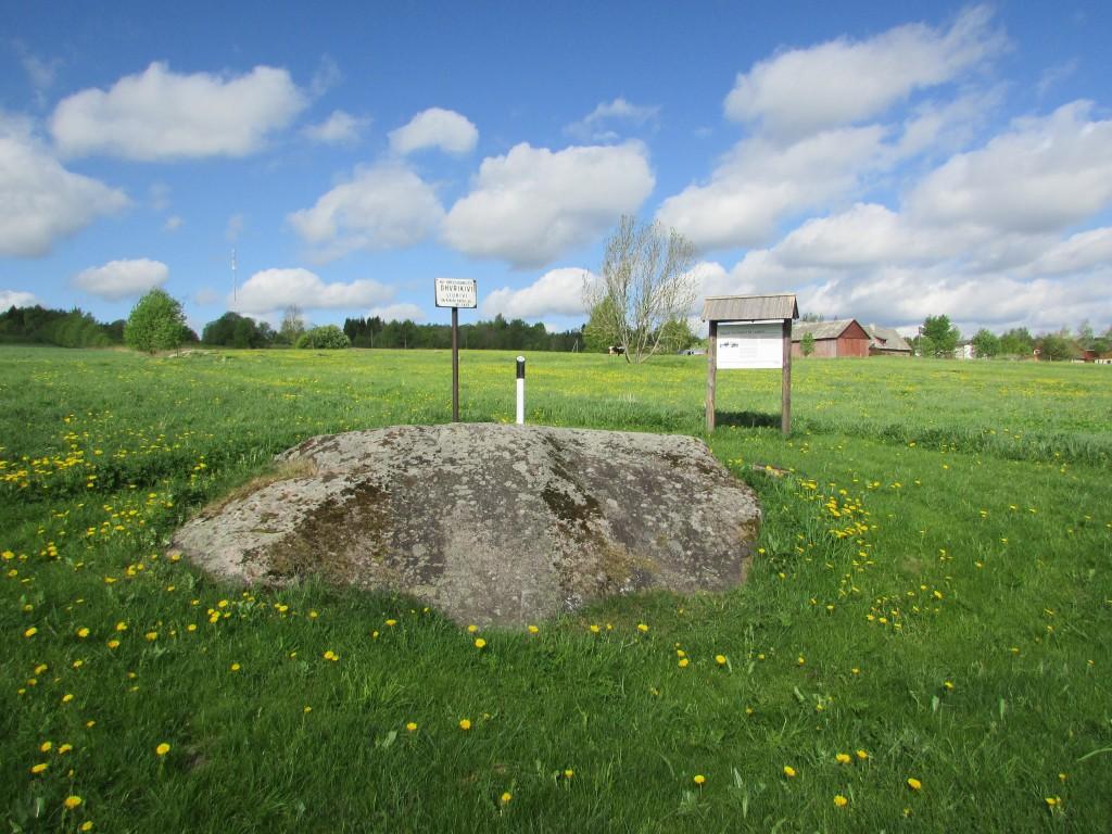 Vaade ohvrikivile ''Liukivi'' kagust. Näha nii mõlemad tähised, kivi ise kui ka stend. Kaugemal, vanast tähisest veidi vasakul on näha võsa, milles peidab end ohvrikivi reg-nr 10322. Foto 17.05.2016, A.Kivirüüt.