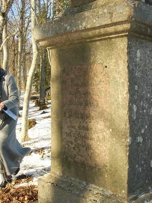 Aaspere mõisa Dellingshausenite mälestussammas : kanne 05.03.09.  Autor Anne Kaldam  Kuupäev  30.04.2005