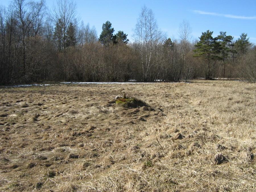 Vaade talude piirilt mälestise suunas. Foto: Kalli Pets, 08.04.2009.