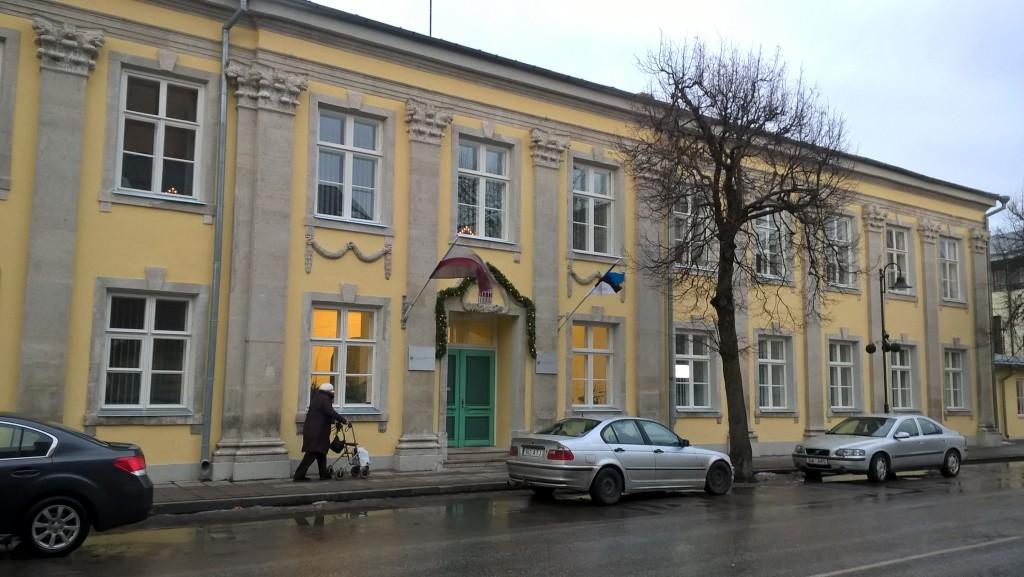 Hoone esifassaad pärast 2015.a. fassaadiremonti. 5.12.2016. Foto: R. Peirumaa